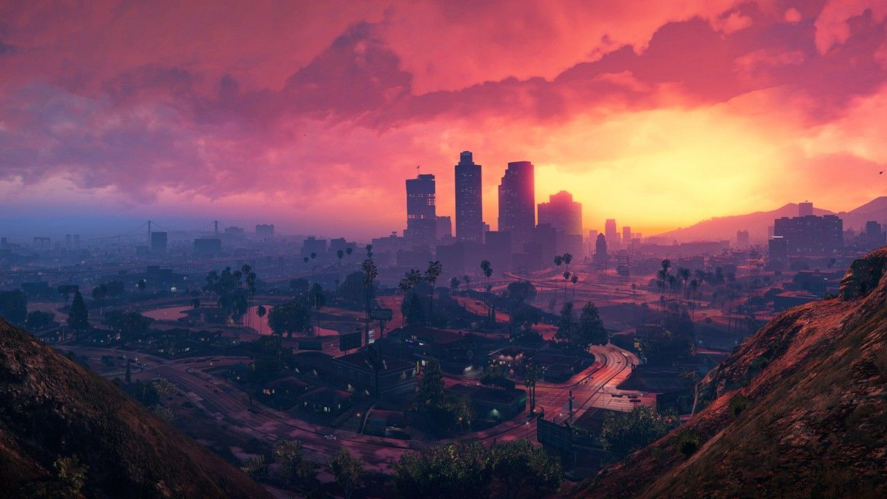 1280x720 Grand Theft Auto V, Los Santos, Sunset, HD, 4K. Sunset city, Grand theft auto, Gta on WallpaperBat