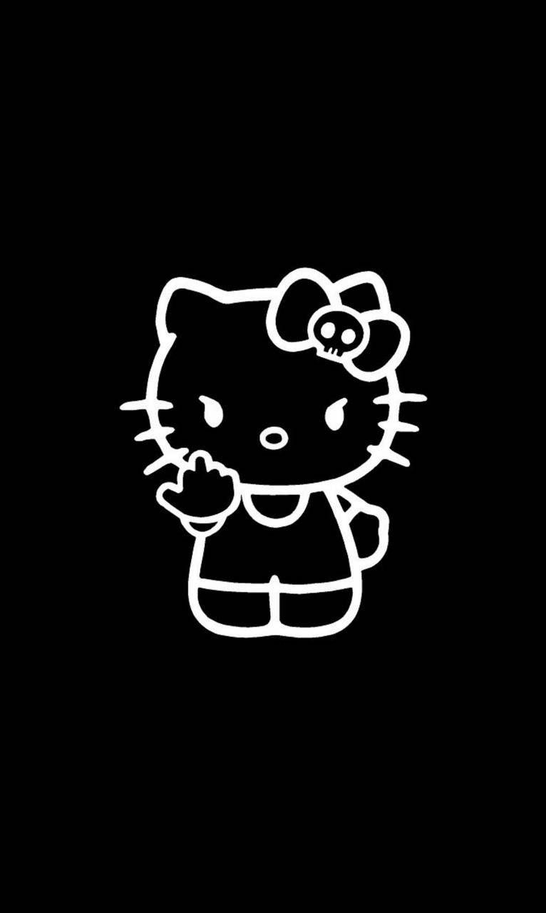 Kitty dark wallpaper hello Sanrio Characters