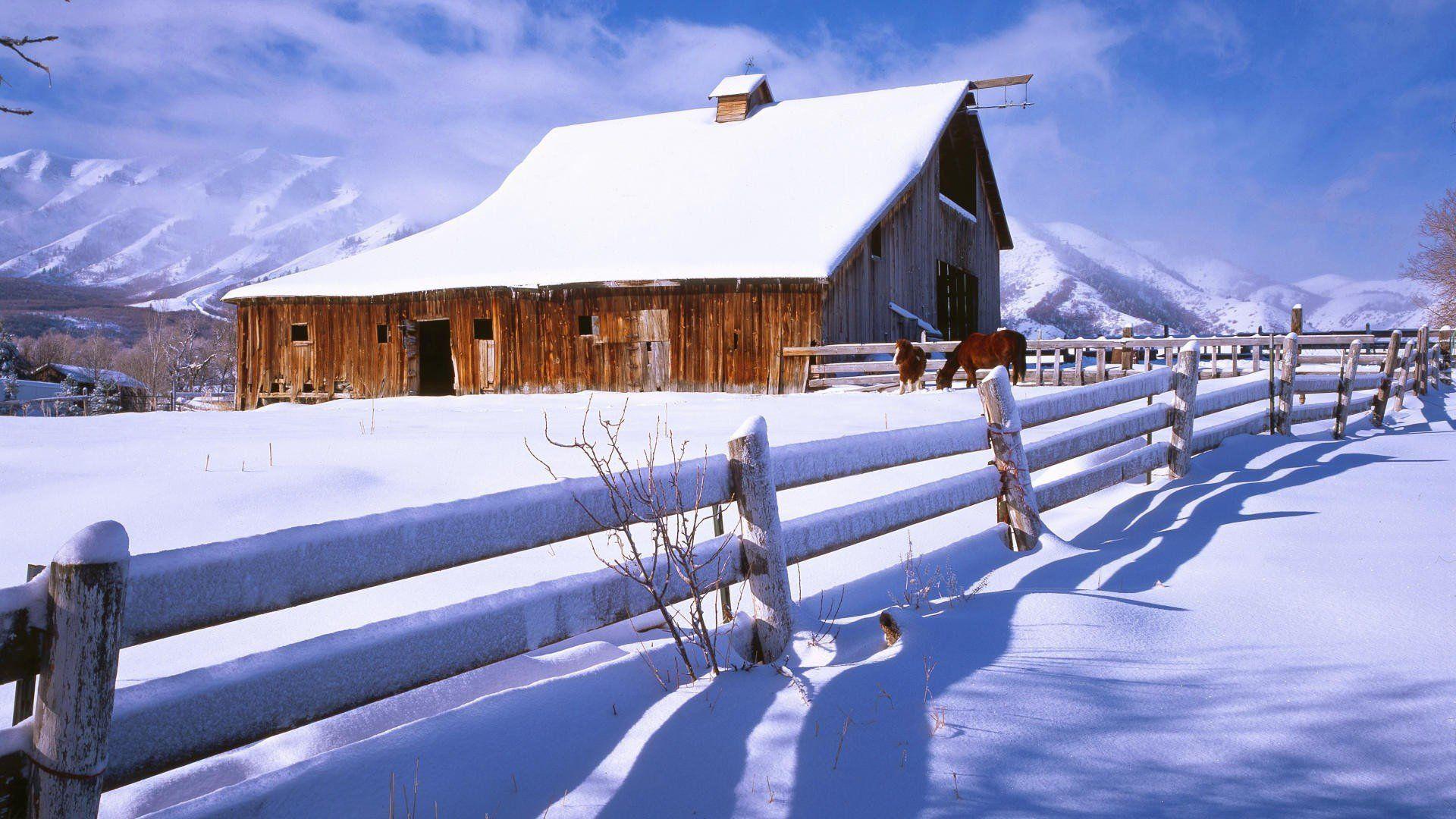 Red Barn Winter Desktop Wallpapers - 4k ...